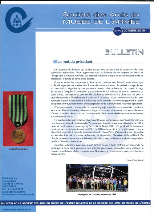 Bulletin N° 71 - octobre 2019